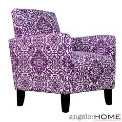 AngeloHOME Sutton Modern Damask Provence Purple Arm Chair
