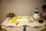 The delectable dessert array: Cake, cookies for guests to take home, and two kinds of cupcakes, Lemon and Chocolate Mint