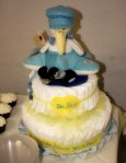 "The adorable diaper cake based on the book we read Kasen, ""Oh Baby, the Places You'll Go."""